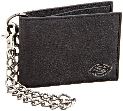 Dickies Men's Bifold Genuine Leather Thin Card Wallet with ID Window and Keychain