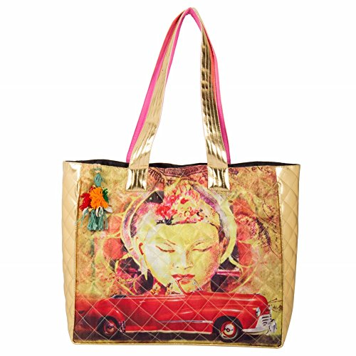 The House of Tara Multicolor Tassel Embellished Printed PU Tote Handbag for Women (HTT 279_Multicolor)