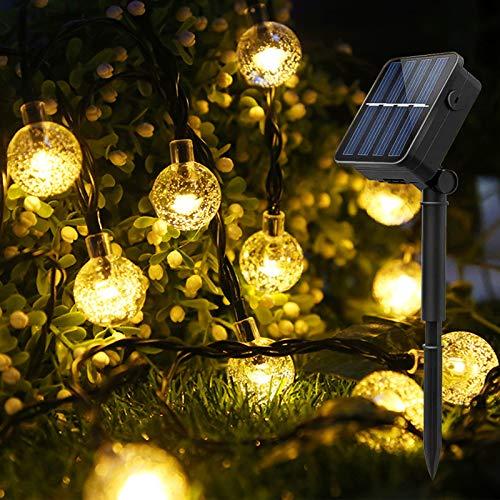 BeauFlw Solar Lichterkette Aussen, 8M 50er LED Lichterkette Außen Solar für außen mit Kristall Kugeln, 8 Modi IP65 Wasserdicht Lichterkette außen Solar für Garten,Bäume,Schlafzimmer,Hochzeiten,Partys.