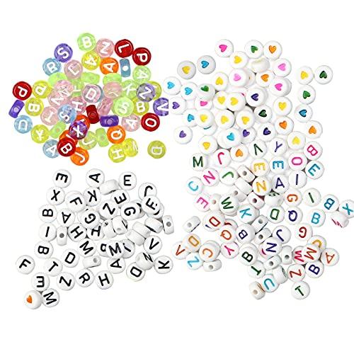 milaosk 700 Piezas Cuentas del Alfabeto Redondo Acrílico Abalorios Letras de Colores para DIY Collar de la Pulsera para los Juguetes Hechos a Mano de los niños (7*4 mm)