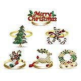 eulogize Portatovaglioli Natalizi Anelli Portatovagliolo 6 Pezzi Decorazione della Tavola Anelli Tovaglioli per Cene Natale