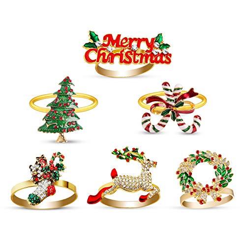 eulogize Serviettenringe mit Weihnachtselemente-Motiv 6 Stück, Metalllegierung Serviettenschnalle Handgemachte für Abendessen Weihnachten Weihnachtstisch Dekoration