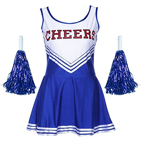 Frauen High School Musical Cosplay Cheerleading Kostüm Mädchen Halloween Kostüm Klassische Cheerleader Athletic Sport Uniform Mini Rock Karneval Kostüm Outfit mit Pompons