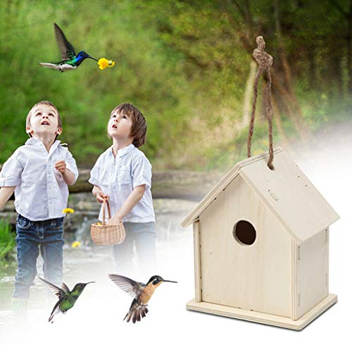 DIY Wooden Bird House - Wooden Bird Feeder Hanging for Garden Yard Decoration Hexagon Shaped With Roof,Living Bird Feeder,Bird Hanging Gazebo,for Kids to Decorate, Arts and Crafts Novelty (Color B)