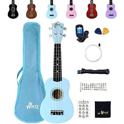 Winzz Ukelele Soprano Starter Kit para Principiante. Incluye: Funda, Afinador, Cuerdas Extra, Correa Ajustable, Púas, Pegatinas de notas, Guía de Acordes y Paño de pulido. Color: Azul