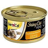 GimCat ShinyCat in Jelly, atún con pollo - Alimento húmedo para gatos, con pescado y taurina - 48 latas (48 x 70 g)