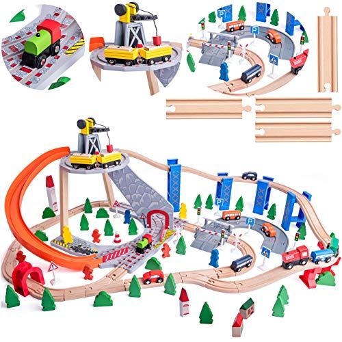134 TLG. XXL Set: Holz - Eisenbahn mit Schienen & Straßen + Berg mit Kran - 120 cm - Holzeisenbahn - erweiterbar für alle Schienen-Systeme & Straßen - z.B. Br..