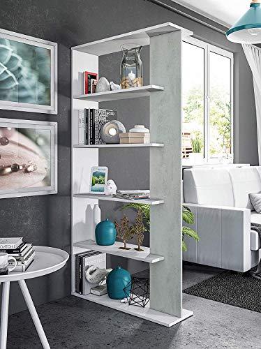 EGLEMTEK Libreria Santa Cruz Design Scaffale Mensola Moderna Bianca Cemento Mobile per Libri con Ripiani per Soggiorno Salotto 180 x 90 x 25 cm (Colore Bianco e Cemento)