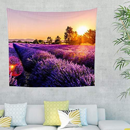 Niersensea Tapiz de pared para colgar en la pared, diseño de atardecer, color morado, flores, lavanda, picnic, playa, manta de playa, manta para el salón, dormitorio, decoración blanca, 230 x 150 cm
