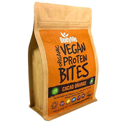 BodyMe Organic Vegan Protein Snacks Bites | Raw Cacao Orange | 100 Protein Snack Bites | 27 Percent Protein | Gluten Free | 3 Plant Proteins | All Essential Amino Acids | High Protein Vegan Snacks