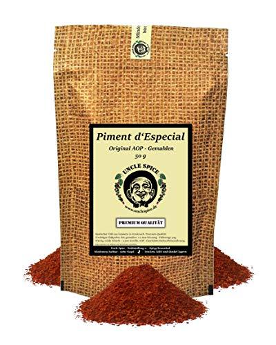 Uncle Spice Piment D'Especial AOP - 50g Baskischer Chili original aus Espelette mit Raucharoma - in Premiumqualität - milde Chilischoten fein gemahlen, Chilipulver, Chili - 2500 Scoville