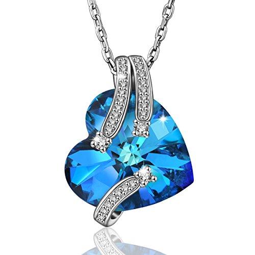 AEONSLOVE Collana da Donna con Ciondolo da Cristalli Swarovski Blu Forma di Cuore, Gioielli Regalo di Natale per la Mamma Moglie Ragazze