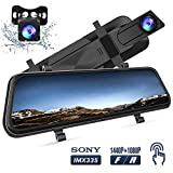 VanTop H610 10' 1440P Mirror Dash Cam for Cars with Full Touch Screen, Waterproof Rear View Mirror Camera, Enhanced Night Vision with Sony Starvis Sensor, Parking Assistance