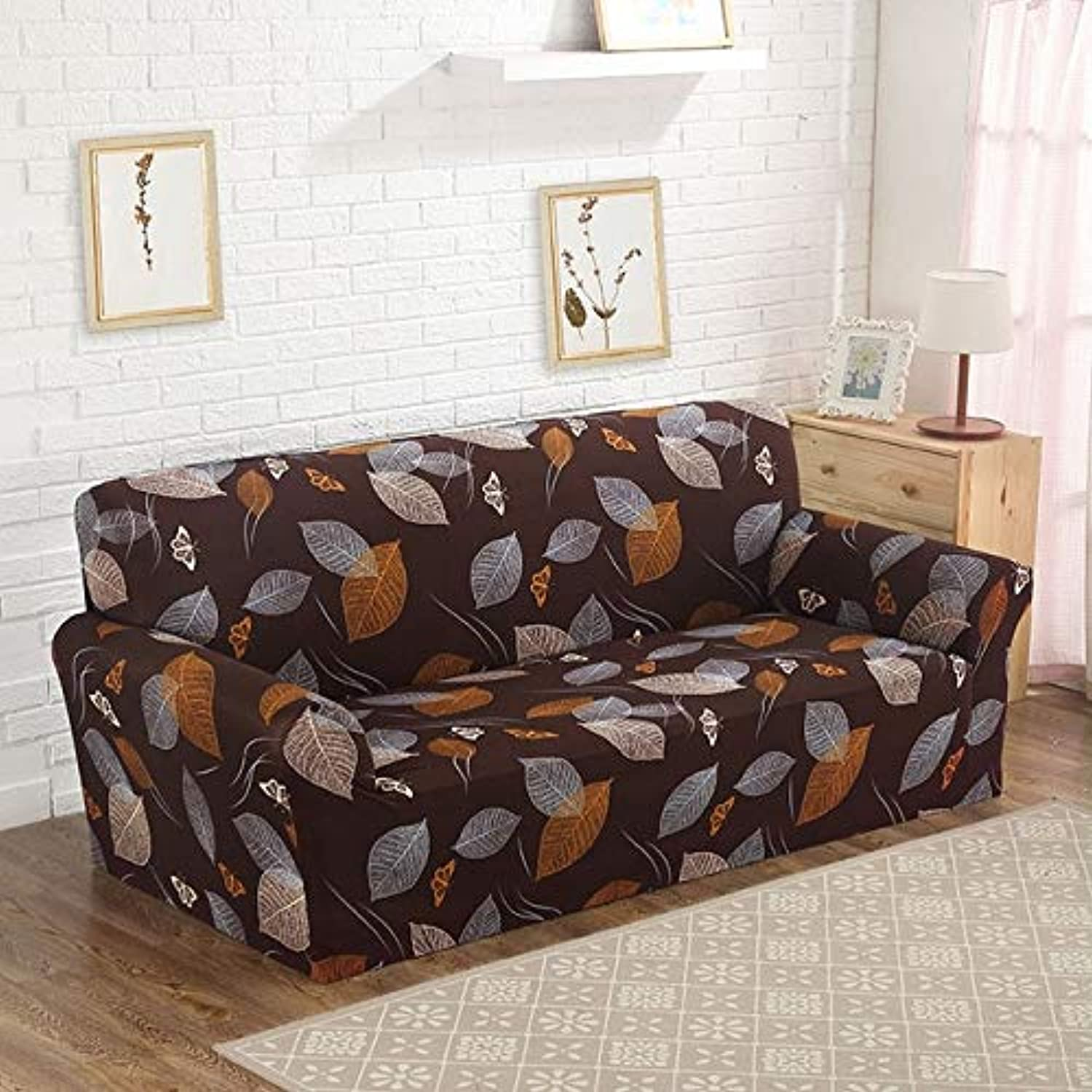 Farmerly Floral Printed Sofa Cover Slipcover for Living Room Elastic Congreens Cover Tight All-Inclusive Lace Edge Pattern 1 2 3 4-seater   color 22, 2seater 145-185cm