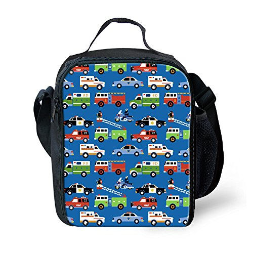 Belidome Toddler Lunch Bag with Straps Reusable Insulated Lunchkits Police Car Fire Truck Ambulance Printed