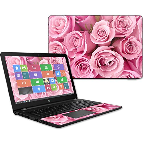 MightySkins Skin Compatible with HP 15t Laptop 15.6' (2017) - Pink Roses | Protective, Durable, and Unique Vinyl Decal wrap Cover | Easy to Apply, Remove, and Change Styles | Made in The USA