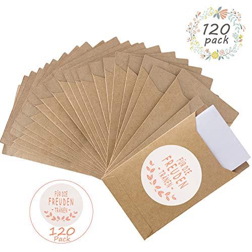 FORMIZON 120 Mini Geschenkzakjes & Stickers Zakdoek, Stickers Papieren Zakken Geschenk voor Vreugde Tranen Zakdoeken Bruiloft Adventskalender Kerst