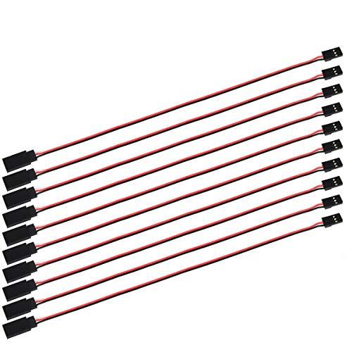 POFET 10 Stück Servo-Verlängerungskabel Anschlusskabel 100 mm 3-poliges Kabel JR-Stecker und Futaba-Buchse für RC-Flugzeug