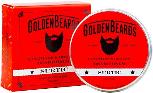 Barbe Bio Baume – Surtic– 30 ML Golden Beards | 100% Naturel | Jojoba & Argan & Abricot huile & Path Patchouli ,Menthe et orange, Lavande et calcaire , tous les produits sont main