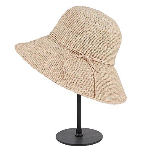 LTH-GD Gorra de Invierno y Sombrero Sombrero de Mujer Protección Solar Sombrero de Sol Grande a lo Largo del Sombrero Plegable Color Beige
