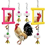 2 Pieces Chicken Mirror Toys Hanging Swing Mirror Toys with Bell Wooden Pecking Toy and 4 Pieces Beak Grinding Molar Stones for Hens Birds Parrots