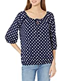 Star Vixen Women's 3/4 Sleeve Peasant Top with Keyhole Tie and Elastic Bottom Hem, Navy/White Dot, Large