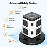Extension Plug Tower, bedee Surge Protector Extension Lead with USB Slots, Tower Power Strip with 10W Wireless Charging, 3 USB Slots and 8 Way Outlets, 2M Extension Cord