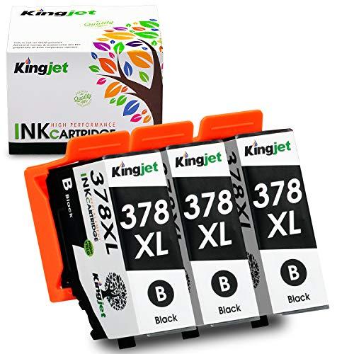 Kingjet 378XL Cartuchos de tinta de repuesto para Epson 378XL 378 Compatible con Epson Expression Photo XP-8005 XP-8500 XP-8505 XP-8600 XP-8000 (3 negros)