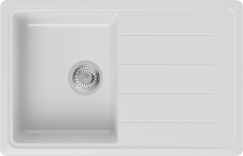 PRIMAGRAN Fregadero de Granito 78 x 50 cm, Lavabo Cocina Un Seno + Sifón Clásico, Fregadero Empotrado Copenhague 780, Blanco