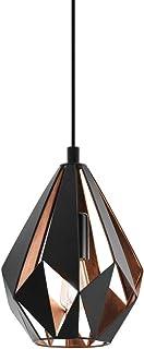 Lámpara colgante EGLO CARLTON 1, lámpara de suspensión con 1 bombilla, lámpara suspendida retro de acero, color: negro, cobre, casquillo: E27, Ø 20,5 cm
