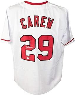 Rod Carew Autographed Los Angeles Angels Custom Baseball Jersey - JSA COA