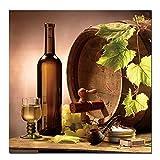 ZMPQ HD Impression Affiche Toile Rouge Vin Champagne Guitare Photo Impression sur Toile pour La Cuisine décor À La Maison Photos 70x70 CM Aucun Cadre Bourgogne