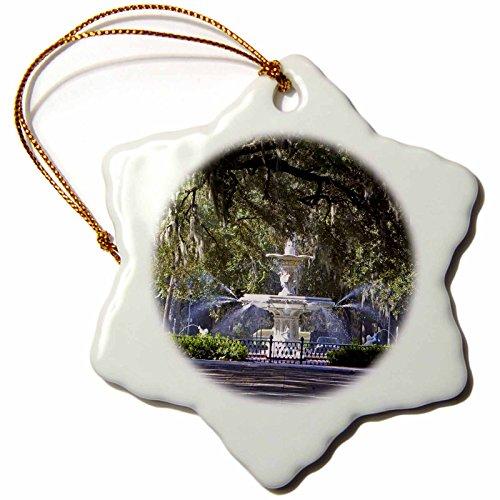 3dRose orn_89316_1 Water Fountain Forsyth Park Savannah Georgia David R. Frazier Snowflake Decorative Hanging Ornament, Porcelain, 3-Inch