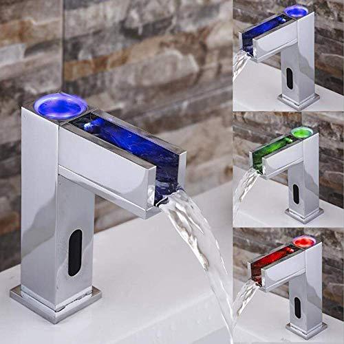 Jfuia IR infrarrojo automático LED 3 cambio de color Lavabo en cascada Grifo del baño Lavabo Grifo del lavabo Latón Cromo frío/caliente Funcionamiento con batería Baño