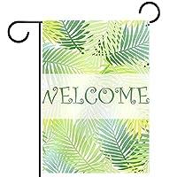ガーデンヤードフラッグ両面 /28x40in/ ポリエステルウェルカムハウス旗バナー,夏の熱帯ヤシの葉は緑
