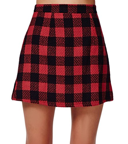 Persun Red Contrast Check Print A-line Mini Skirt, Red, 4