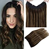 LaaVoo 14' Balayage Secret Halo Human Hair Extensions Highlighted Darkest Brown to Light Brown and Dark Brown Flip on Human Hair No Clip No Gule 11inch Width 80g