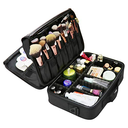 """Travel Makeup Bag/Train Case, 3 Layer 12.6"""" Length Portable Cosmetic Organizer with Shoulder Strapes Multi functional Cosmetic Bag Makeup Handbag for Travel & Home Gift"""