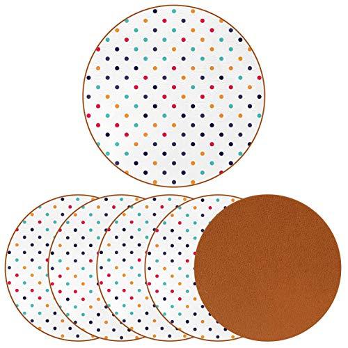 Paquete de 6 posavasos para bebidas, diseño de lunares, ideal para decoración de bar de inauguración de la casa.