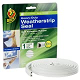 Duck Brand Heavy-Duty Self Adhesive Weatherstrip Seal for Large Gap, White, 3/8-Inch x 1/4-Inch x 17-Feet, 1 Seal, 282433