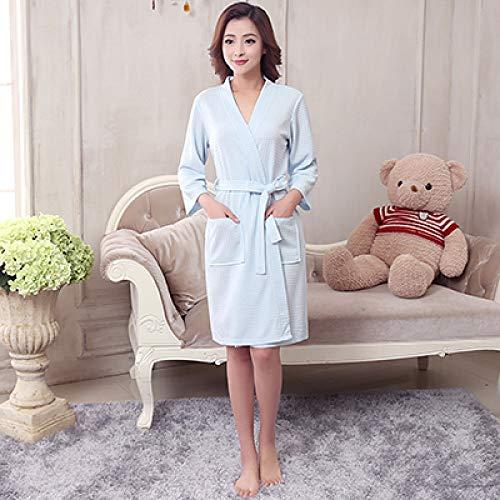 YSKDM Amantes Moda Waffle Kimono Bata de baño Mujeres Hombres Sexy Tallas Grandes Albornoz Femme Peignoir Bata Dama de Honor Batas Boda, Mujeres Azul Cielo, XXXL