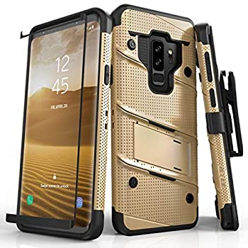 ZIZO Bolt Series for Samsung Galaxy S9 Plus Case Military Grade Drop Tested with Tempered Glass Screen Protector Holster Gold Black