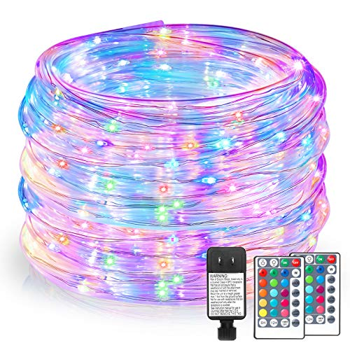 99FT RGB LED Rope Lights Outdoor, 16 Colors Remote Control String Lights Plug in, 300 LEDs, Waterproof, Super Durable for Home Bedroom Patio Wedding Christmas Décor