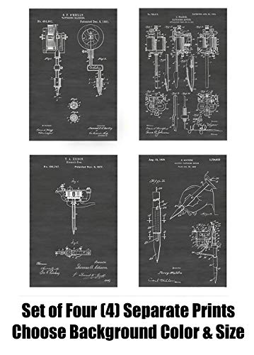 Vintage Tattoo Machines, Guns and Markers Wall Decor Collection: Set of Four Patent Print Art Posters: Choose From Multiple Size and Background Color Options