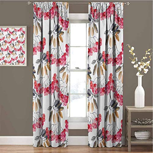Rowan for Bedroom Blackout Curtains Shrubs Full of Berries Fresh Garden Pattern in Watercolors Artwork Blackout Curtains for The Living Room W72 x L108 Inch Pink Cadet Blue Pale Brown