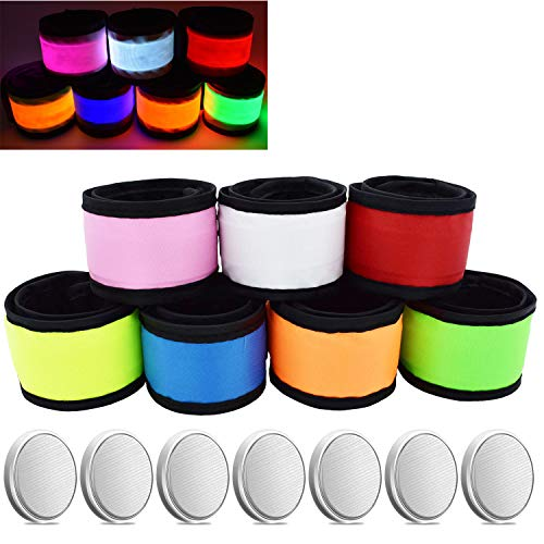 AMNQUERXUS LED Glow Slap Bracelet Light Up Wristband 7-Pack High Visibility Safety Gear for Cycling Walking Running Concert Camping Outdoor Sports-Fits Women Men & Kids (7 Pack - (Colorful))