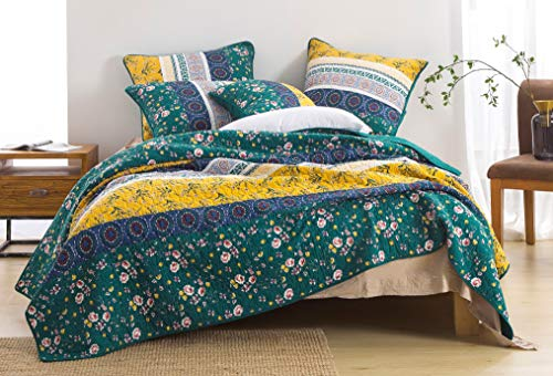DaDa Bedding Bohemian Patchwork Bedspread - Cotton Bed of Wild Flowers Gardenia - Botanical Floral Quilted Coverlet Set - Bright Vibrant Yellow Blue Teal Green - Queen - 3-Pieces