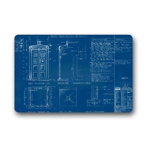 GDESFR Fußmatte SENL Doctor Who Tardis Blueprints Custom Non Slip Machine Washable Decor Bathroom Mats Fußmatte23.6