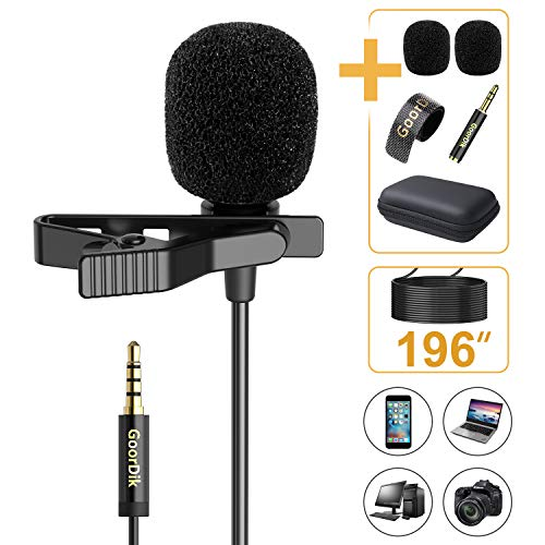GoorDik Professional Lavalier Lapel Microphone - Omnidirectional Condenser Mic with 16 feet Cable and with Easy Clip for YouTube/Interview/Video