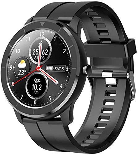 BAIDOLL Deportes Smart Watch Men's Medi Cust Anunch's Dial Pantalla Táctil Completa Impermeable Smart Watch Reloj De Fitness, Negro Al Aire Libre